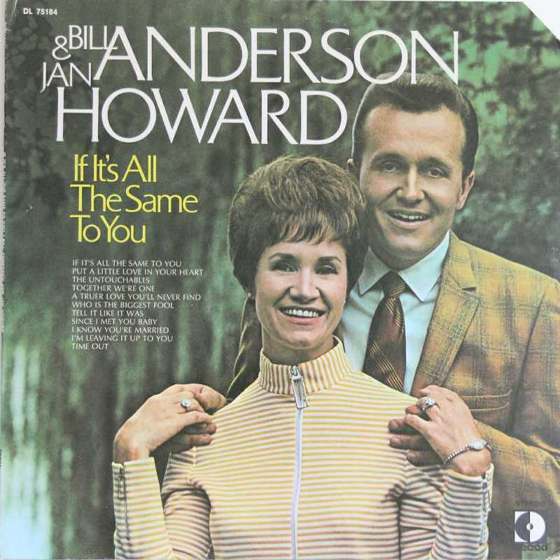Bill Anderson And Jan Howard - If It's All The Same To You (Country Music vinyl record for sale)