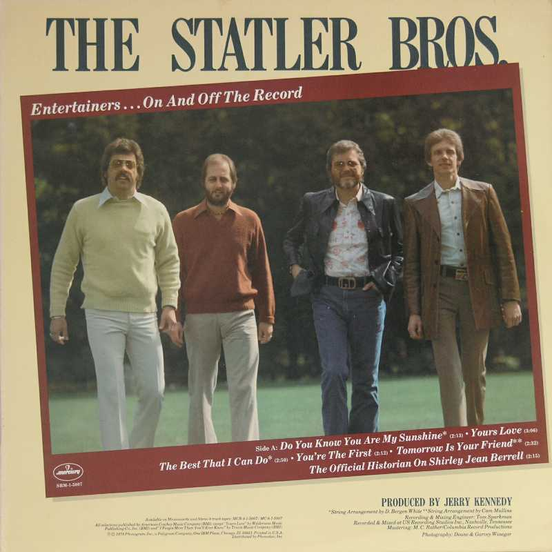 The Statler Brothers - Entertainers On And Off The Record  (Country Music vinyl record for sale)